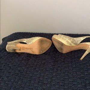 bebe Shoes - Bebe Beige Gold Snakeskin Open Toe Slingback Heels